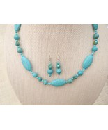 33.5 Inch Turquoise Dyed Howlite Necklace Earri... - $46.99