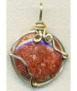 Utah Red Horn Fossil Coral Gold Wire Wrap Penda... - $23.95