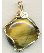 Tigereye Gold Wire Wrap Pendant 57 - $23.95