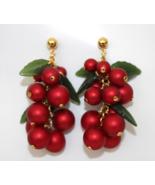 Red Mistletoe Dangling Christmas Earrings - $9.95
