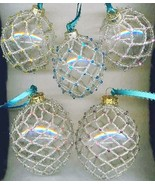 Silver Beaded Clear Glass Christmas Ornaments  - $29.98