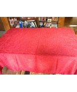 Red Fabric Tablecloth Rectangular Holiday Gentl... - $9.99