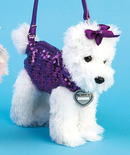 Girls Pet Scottish Terrier Puppy Purse Tote w  Sequined Outfit   ID Tag