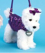 New Girls Pet Scottish Terrier Puppy Purse Tote w/ Sequined Outfit &amp; ID Tag