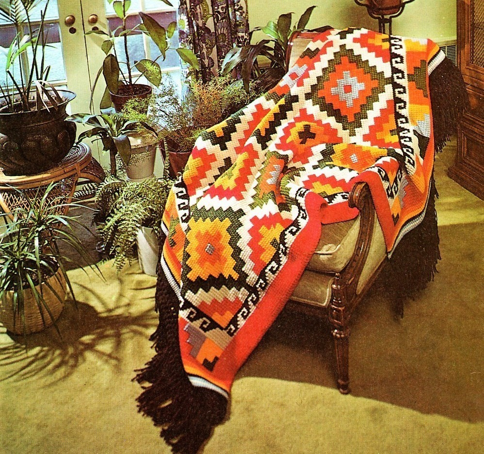 Vintage Crochet Pattern Navajo Indian Blanket Afghan