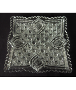 Pressed Glass Square Candy Tidbit Dish Button &... - $7.00