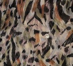 Vintage Leopard Animal Print Cotton Voile Fabri... - $49.50