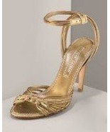 New $525 Ralph Lauren Collection Gold Shoe Heel... - $289.99
