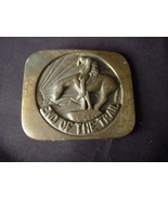 END OF THE TRAIL Brass Belt Buckle - Vintage 19... - $12.00