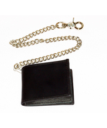 Black Leather Dress Wallet Bifold Hip Chain Mad... - $32.00