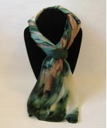 Hand Painted Silk Scarf Green Cream Tan Womens ... - $44.00