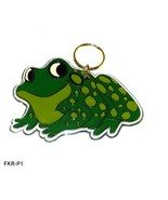 Molded Poly Resin Green Frog Key Ring - $7.99