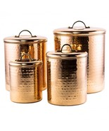 Hammered Copper Canister Set 4 Pc Kitchen Count... - $85.92