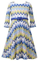 Big Girls Tween Blue/Multi Belted Flamestitch Fit Flare Knit Dress, Bonnie Je...