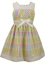 Little-Girls Lime-Green/Multi Metallic Check Seersucker Eyelet Border Dress, ...