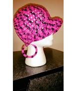 Pink & Black Handmade Ladies Fashion Hat & Earr... - $30.00