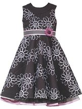 Little Girls 2T-6X Brown Pink Floral Embroidered Pin Tuck Neckline Dress (5, ...