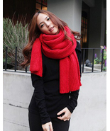 Bright Red Chic Super Long Knitted Winter Scarf... - $50.90