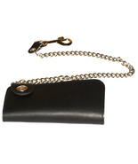 Side Snap Indian Head Bifold Black Leather Wall... - $39.99