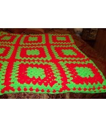 Afghan Granny Squares Red & Green Handmade - $15.00