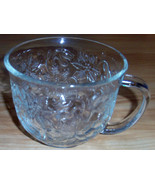 Clear Glass Cup Large Raised Floral Design Punc... - $0.99