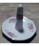 Ring Holder White with Pink Roses and Gold Rim - $0.99