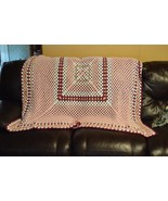 Granny Square Afghan White and Pink Colors Square - $12.99