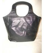 Vintage DAVEY'S of Mass. Black Leather Handbag ... - $16.99