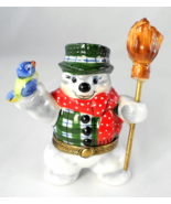 Limoges Box - Snowman with Scarf Hat & Broom - ... - $125.00