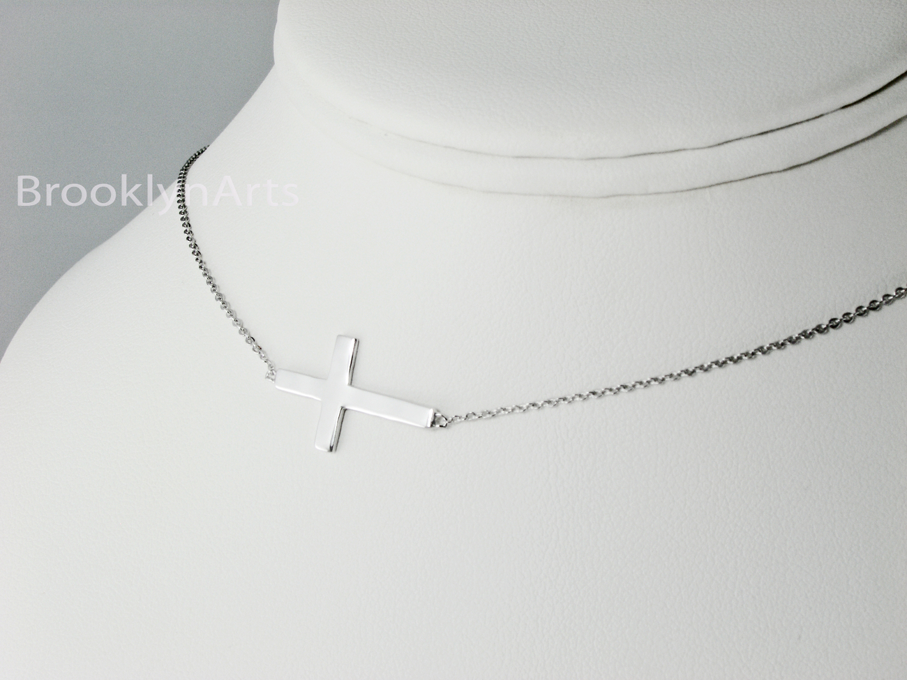 Sterling Silver Sideways Cross Necklace - Kelly Ripa