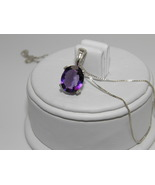 New 2.28ct Purple Amethyst Sterling Silver pend... - $28.00