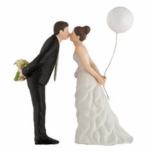 """""""Leaning in for a Kiss"""" Balloon Couple Wedding Cake Topper Cute"""