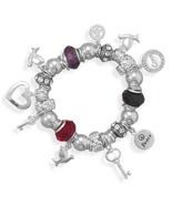 Multibead and Sterling Silver Charm Stretch Bra... - $279.99