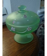 Fenton Satin Willow Green HP Dotted Swiss Candy... - $44.50