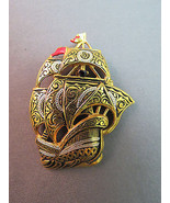 Vintage Damascene Style Ship Brooch 2
