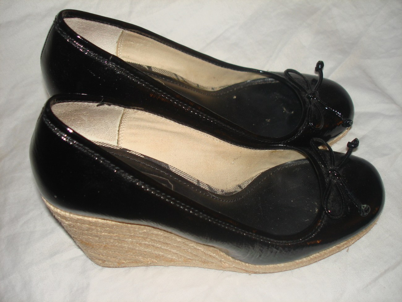 Coach Black patent leather women espadrille shoes sz 6