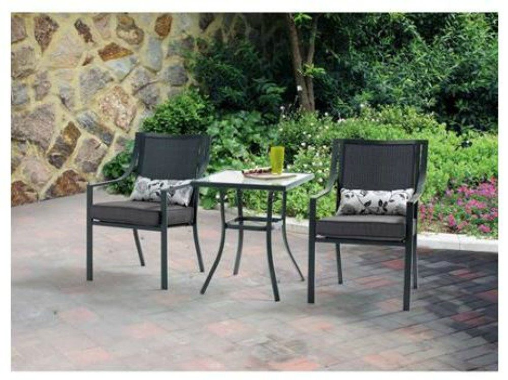 3 Piece Outdoor Patio Bistro Set Grey with Leaves Seats 2