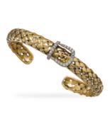 Unique Gold Cuff Bracelet with CZ Buckle Design - $279.99