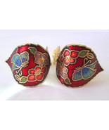 Cloisonné Enamel Butterfly & Flowers Design Gol... - $9.89