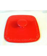 Technique Red Square Fry Pan Lid Cast Iron Enam... - $12.99