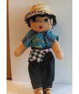 Vinage Ethnic Cloth Stuffed Doll Sandals Straw Hat - $19.99