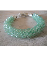 Kumihimo Bracelet With Transparent Mint Luster ... - $29.00
