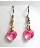 Rose Pink Crystal Hearts Dangle Eurowire Earrin... - $8.90