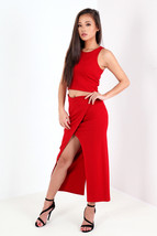 New Womens Ladies Wrap Over Split Skirt UK Size... - $41.25