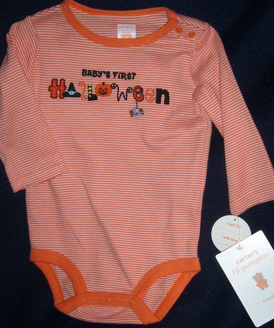 Carter's l'il Pumpkin Long Sleeve One Piece Halloween 6 Mont