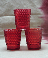 Three Vintage Red Hobnail Pattern Glass Votive ... - $12.00