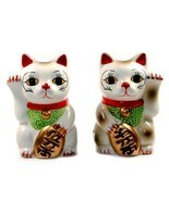 SET OF 2 MANEKI NEKO SALT & PEPPER SHAKERS 3.5
