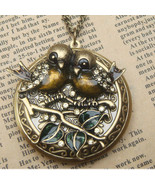 Handmade Steampunk Birds Locket Necklace Vintag... - $36.99