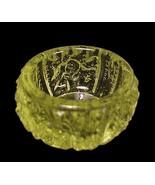Rose Lattice Vaseline Glass Open Salt Dip Cellar - $9.00