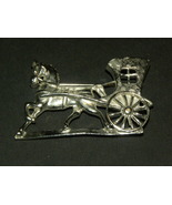 Vintage Brooch Horse And Carriage Silver - $15.00